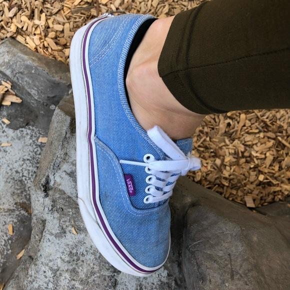 VANS authentic denim shoes blue purple jean 8,5